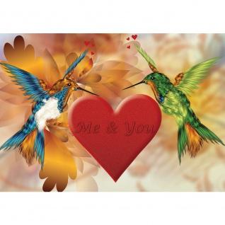 Fototapete Schriftkunst Tapete Herz Liebe Kolibri Vogel Tier bunt | no. 2070