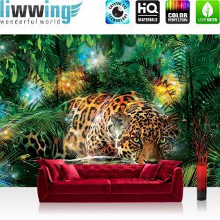 liwwing Fototapete 368x254 cm PREMIUM Wand Foto Tapete Wand Bild Papiertapete - Tiere Tapete Leopard Tier Raubkatze Katze Dschungel Blätter grün - no. 2381
