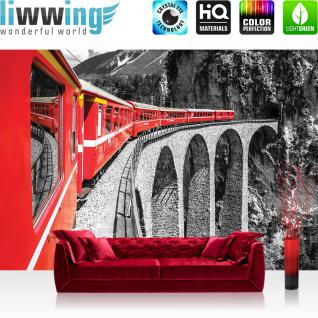 liwwing Vlies Fototapete 416x254cm PREMIUM PLUS Wand Foto Tapete Wand Bild Vliestapete - Gebirge Tapete Landschaft Eisenbahn Zug rot - no. 1811