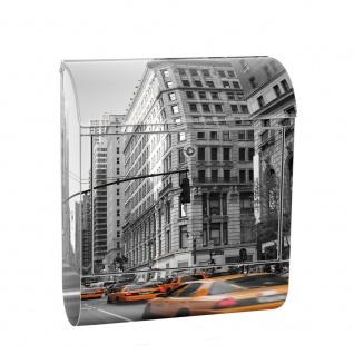 Edelstahl Wandbriefkasten XXL mit Motiv & Zeitungsrolle | Manhattan Skyline Taxis City Stadt | no. 0194