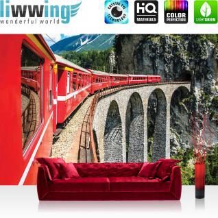 liwwing Fototapete 254x168 cm PREMIUM Wand Foto Tapete Wand Bild Papiertapete - Gebirge Tapete Berge Eisenbahn Gleis Mountains Landschaft Gebirge rot - no. 1331