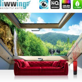 liwwing Fototapete 368x254cm PREMIUM Wand Foto Tapete Wand Bild Papiertapete - Berge Tapete Wasserfall See Wald Mittelgebirge Fenster natural - no. 3301