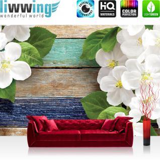 liwwing Vlies Fototapete 416x254cm PREMIUM PLUS Wand Foto Tapete Wand Bild Vliestapete - Orchideen Tapete Holz Holzoptik Blumen Blüten Blätter Orchideen braun - no. 2115