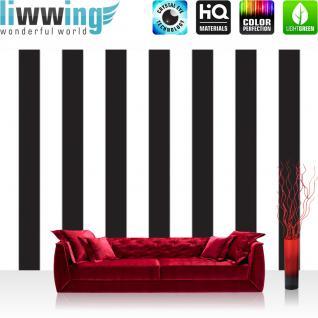 liwwing Fototapete 368x254 cm PREMIUM Wand Foto Tapete Wand Bild Papiertapete - Illustrationen Tapete Streifen Muster Illustration schwarz weiß - no. 3118