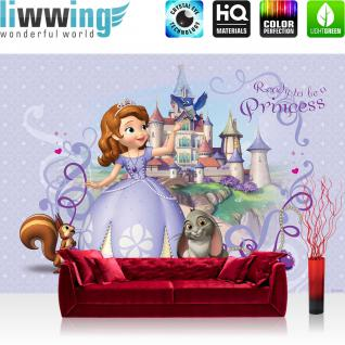 liwwing Vlies Fototapete 312x219cm PREMIUM PLUS Wand Foto Tapete Wand Bild Vliestapete - Cartoon Tapete Disney Sofia die Erste Eichhörnchen Hase Schloss lila - no. 1682