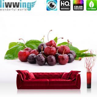 liwwing Vlies Fototapete 104x50.5cm PREMIUM PLUS Wand Foto Tapete Wand Bild Vliestapete - Speisen Tapete Obst Kirschen rot - no. 3119