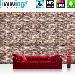 liwwing Vlies Fototapete 152.5x104cm PREMIUM PLUS Wand Foto Tapete Wand Bild Vliestapete - Steinwand Tapete Naturstein Marmor Klinker braun - no. 3259