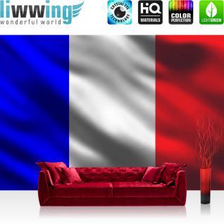 liwwing Vlies Fototapete 416x254cm PREMIUM PLUS Wand Foto Tapete Wand Bild Vliestapete - Frankreich Tapete Flagge Land Frankreich bunt - no. 3103