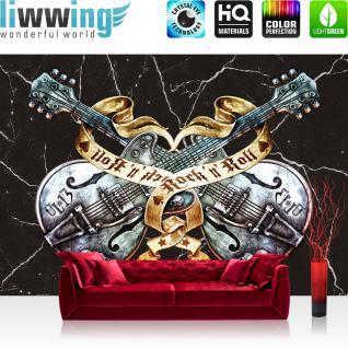 liwwing Vlies Fototapete 400x280 cm PREMIUM PLUS Wand Foto Tapete Wand Bild Vliestapete - Illustrationen Tapete Alchemy Gitarre Rock `n` Roll Vintage Tattoo schwarz - no. 294