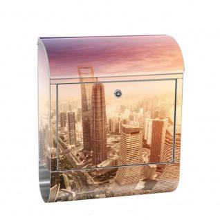 Edelstahl Wandbriefkasten XXL mit Motiv & Zeitungsrolle   Skyline Shanghai Wolkenkratzer Hochhäuser   no. 0050