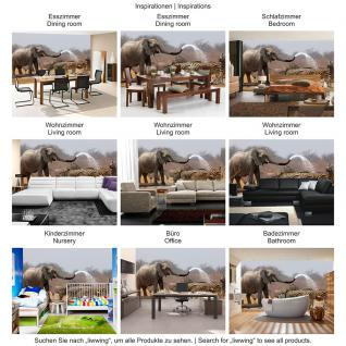 liwwing Vlies Fototapete 104x50.5cm PREMIUM PLUS Wand Foto Tapete Wand Bild Vliestapete - Afrika Tapete Elefanten Zebra Wasser Giraffe Antilopen braun - no. 1294 - Vorschau 5