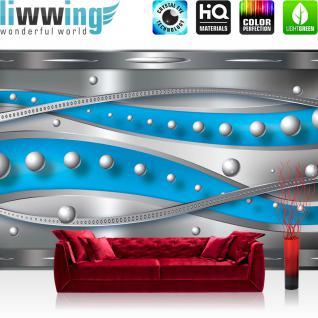 liwwing Vlies Fototapete 312x219cm PREMIUM PLUS Wand Foto Tapete Wand Bild Vliestapete - Ornamente Tapete Perlen Streifen Linien Muster grau - no. 2081