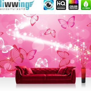 liwwing Vlies Fototapete 312x219cm PREMIUM PLUS Wand Foto Tapete Wand Bild Vliestapete - Kunst Tapete Blasen Sterne Schmetterling Muster rosa - no. 2915