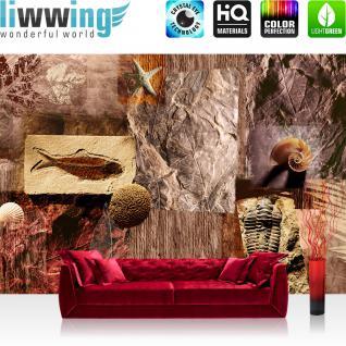 liwwing Vlies Fototapete 300x210 cm PREMIUM PLUS Wand Foto Tapete Wand Bild Vliestapete - Kunst Tapete Muscheln Abstrakt Eingebungen Meerestiere Blätter braun - no. 282