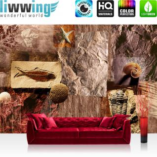 liwwing Vlies Fototapete 400x280 cm PREMIUM PLUS Wand Foto Tapete Wand Bild Vliestapete - Kunst Tapete Muscheln Abstrakt Eingebungen Meerestiere Blätter braun - no. 282