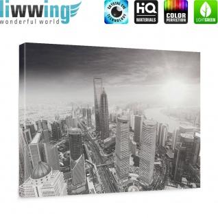 Leinwandbild Black and White Shanghai Sunset Skyline Skyline Shanhai Wolkenkratzer | no. 49 - Vorschau 5
