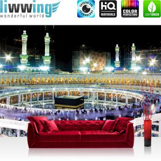 liwwing Vlies Fototapete 312x219cm PREMIUM PLUS Wand Foto Tapete Wand Bild Vliestapete - Architektur Tapete Moschee Mekka Lightning Menschen Nacht bunt - no. 2539
