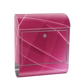Edelstahl Wandbriefkasten XXL mit Motiv & Zeitungsrolle | Abstrakt Wellen Entspannung Pink | no. 0211