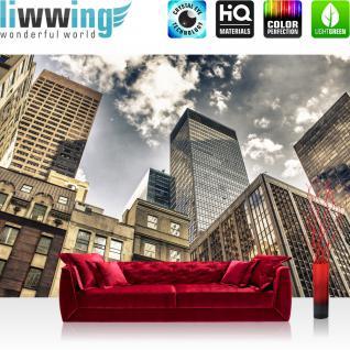liwwing Vlies Fototapete 350x245 cm PREMIUM PLUS Wand Foto Tapete Wand Bild Vliestapete - MANHATTAN SKYSCRAPERS - NYC Hochhäuser Streetview New York Skyline USA - no. 054