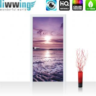 liwwing Türtapete selbstklebend 91x211 cm PREMIUM PLUS Tür Fototapete Türposter Türpanel Foto Tapete Bild - Meer Strand Himmel Sonnenuntergang - no. 310