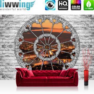 liwwing Vlies Fototapete 208x146cm PREMIUM PLUS Wand Foto Tapete Wand Bild Vliestapete - Steinwand Tapete Steinoptik Fenster Sonnenuntergang Stadt Lichter grau - no. 2889