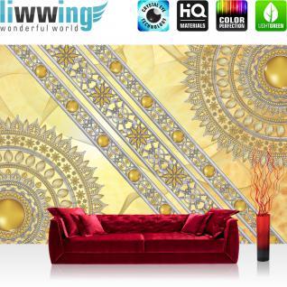 liwwing Vlies Fototapete 208x146cm PREMIUM PLUS Wand Foto Tapete Wand Bild Vliestapete - Ornamente Tapete Mandala Sterne Perlen gelb - no. 3231