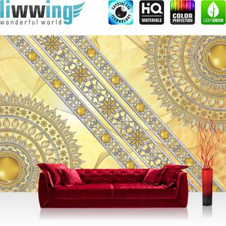 liwwing Vlies Fototapete 368x254cm PREMIUM PLUS Wand Foto Tapete Wand Bild Vliestapete - Ornamente Tapete Mandala Sterne Perlen gelb - no. 3231