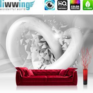 liwwing Vlies Fototapete 312x219cm PREMIUM PLUS Wand Foto Tapete Wand Bild Vliestapete - Kunst Tapete Abstrakt 3D Design weiß - no. 2681
