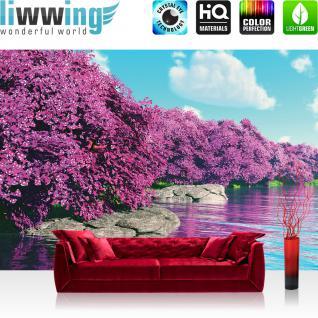 liwwing Vlies Fototapete 312x219cm PREMIUM PLUS Wand Foto Tapete Wand Bild Vliestapete - Blumen Tapete Pflanzen Wasser Himmel bunt - no. 3569