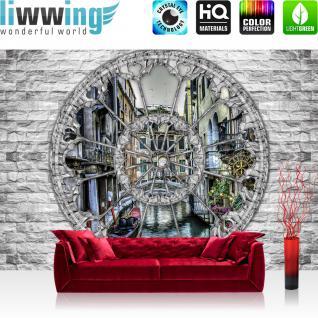 liwwing Vlies Fototapete 312x219cm PREMIUM PLUS Wand Foto Tapete Wand Bild Vliestapete - Steinwand Tapete Steinoptik Fenster Venedig Gondel Wasser grau - no. 2862
