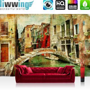 liwwing Vlies Fototapete 350x245 cm PREMIUM PLUS Wand Foto Tapete Wand Bild Vliestapete - GREAT VENICE - Venedig Kanal Italien Gondel Romantik Zeichnung - no. 055