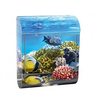 Edelstahl Wandbriefkasten XXL mit Motiv & Zeitungsrolle   Aquarium Unterwasser Meereswelt Meer Fisch Riff   no. 0105