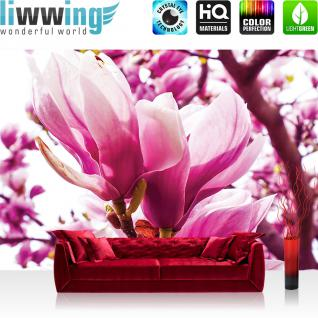 liwwing Vlies Fototapete 416x254cm PREMIUM PLUS Wand Foto Tapete Wand Bild Vliestapete - Blumen Tapete Natur Blume Magnolie rosa - no. 1203