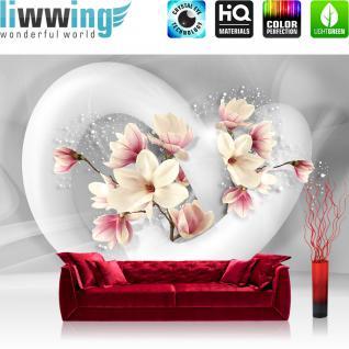 liwwing Vlies Fototapete 416x254cm PREMIUM PLUS Wand Foto Tapete Wand Bild Vliestapete - Blumen Tapete Blume Blüten Schnürkel 3D Punkte weiß - no. 1535