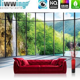 liwwing Vlies Fototapete 312x219cm PREMIUM PLUS Wand Foto Tapete Wand Bild Vliestapete - Landschaft Tapete Wasserfall Wasser Berge Bäume Gitter Fenster Marmor grün - no. 2250