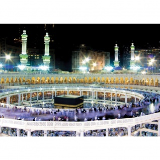Fototapete Architektur Tapete Moschee Mekka Lightning Menschen Nacht bunt | no. 2539