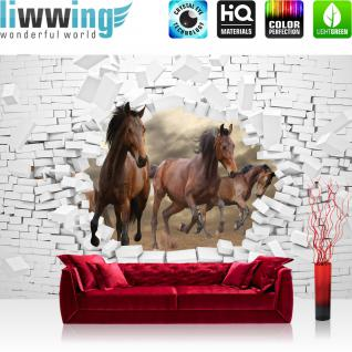 liwwing Vlies Fototapete 368x254cm PREMIUM PLUS Wand Foto Tapete Wand Bild Vliestapete - Tiere Tapete Pferde Steinwand Illustration Natur braun - no. 3383