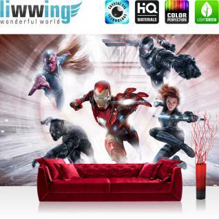 liwwing Fototapete 368x254cm PREMIUM Wand Foto Tapete Wand Bild Papiertapete - Marvel - AVENGERS Tapete The Avengers Iron Man Ultron Vision bunt - no. 3540