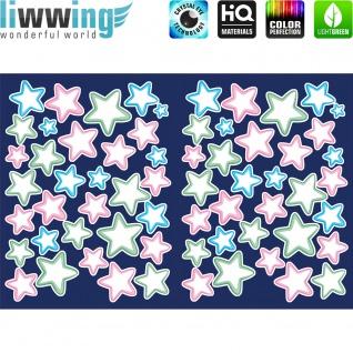 Wandsticker - No. 4823 Wandtattoo Sticker Leuchtsticker Fluoreszierend Neon Sterne