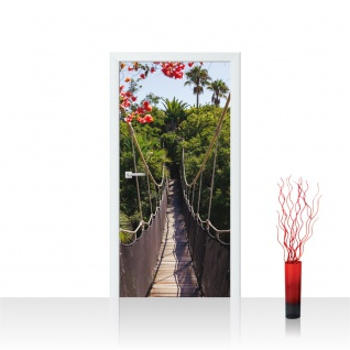 Türtapete - Hängebrücke Bäume Wald Blumen | no. 770 - Vorschau 1