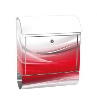 Edelstahl Wandbriefkasten XXL mit Motiv & Zeitungsrolle | Ornament abstrakt Rot Hintergrund | no. 0214