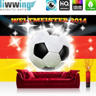 liwwing Vlies Fototapete 152.5x104cm PREMIUM PLUS Wand Foto Tapete Wand Bild Vliestapete - Fußball Tapete Flagge Fahne Deutschland Fussball Weltmeister 2014 Schriftzug weiß - no. 2991