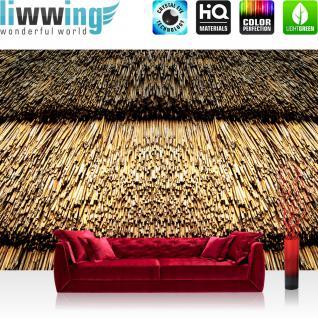liwwing Vlies Fototapete 312x219cm PREMIUM PLUS Wand Foto Tapete Wand Bild Vliestapete - Bambus Tapete Dach Schutz Japan braun - no. 3016