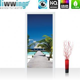 liwwing Vlies Türtapete 91x211 cm PREMIUM PLUS Tür Fototapete Türposter Türpanel Foto Tapete Bild - Palme Strand Steg Himmel - no. 1132