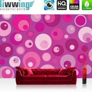 liwwing Vlies Fototapete 416x254cm PREMIUM PLUS Wand Foto Tapete Wand Bild Vliestapete - Kunst Tapete Abstrakt Blasen Punkte Kreise pink - no. 2564