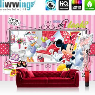 liwwing Vlies Fototapete 400x280 cm PREMIUM PLUS Wand Foto Tapete Wand Bild Vliestapete - Disney Tapete Disney - Mickey Mouse - Minnie Kindertapete Cartoon Kleider kleine Maus rosa - no. 1069