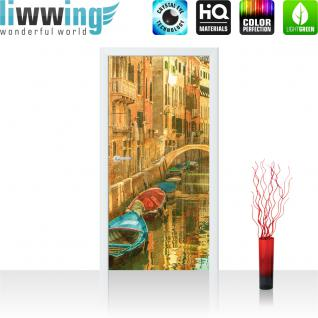 liwwing Türtapete selbstklebend 91x211 cm PREMIUM PLUS Tür Fototapete Türposter Türpanel Foto Tapete Bild - Venedig Brücke Boot Häuser Kanal - no. 432
