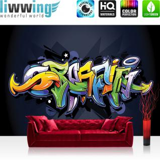 liwwing Vlies Fototapete 350x245 cm PREMIUM PLUS Wand Foto Tapete Wand Bild Vliestapete - Graffiti Tapete Kindertapete Malerei bunt Muster Schrift grün - no. 409