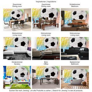 liwwing Vlies Fototapete 104x50.5cm PREMIUM PLUS Wand Foto Tapete Wand Bild Vliestapete - Fußball Tapete Fussball Steinmauer Steine bunt - no. 1356 - Vorschau 5