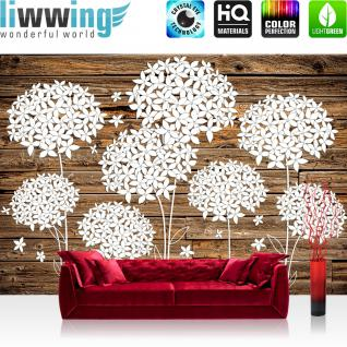 liwwing Vlies Fototapete 208x146cm PREMIUM PLUS Wand Foto Tapete Wand Bild Vliestapete - Holz Tapetewand Holzoptik Malerei Blume Blätter Blüten Schatten braun - no. 1412